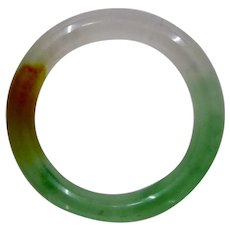 Vintage Jade Jadite Multicolor Bangle Round Heavy 7 1/2""