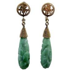 Mid 1900s 14K Carved Apple Jade Dangle Earrings Screwback