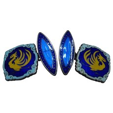 Ca 1920s Japanese Sterling Enamel Cloisonne Cuff Links Phoenix Signed