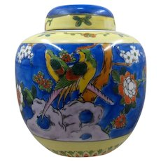 1930s Japan Hand Painted Porcelain Tea Caddy Birds Peonies