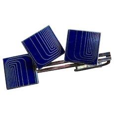 Mid Century Japanese Enamel SP Cuff Links Tie Bar Set