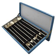 Boxed Set Japanese 950 Silver Ice Tea Spoons/Straws w/ Charms