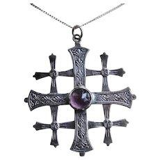 """Mid 900s Silver Jerusalem Cross Necklace Amethyst Glass 19"""""""