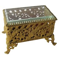 Ca 1900 Gilt Metal Beveled Glass Jewelry Casket Royal Mfg Co