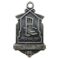 Vintage Sterling C.H.S. Journalism Charm Pendant