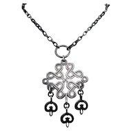 Kalevala Koru Finland Pewter Necklace w/ Karelian Braided Ribbon Motif