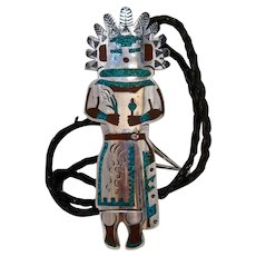 Huge Navajo Sterling Kachina Bolo Tie Turquoise Coral Inlay 5 3/8""