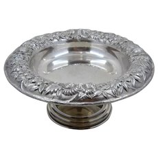 Kirk Sterling Floral Repousse Compote Footed Bowl