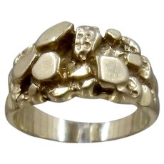 14K Yellow Gold Nugget Style Ring Leo Schachter Sz 6.5