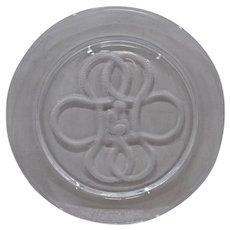 """Lalique France Intaglio Cherub Plate Clear Glass 8.5"""""""