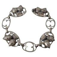 Mid 1900s Lang Sterling Repousse Acorns Bracelet