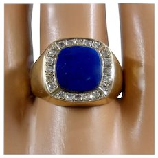 14K Square Lapis Diamond Halo Ring Sz 9