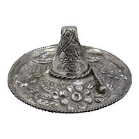 Early Mexican 900 Silver Sombrero Trinket Dish Repousse Flowers Snake