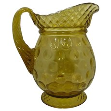 1880s Central Glass Lattice Thumbprint Water Pitcher EAPG Amber