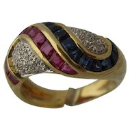 Levian 18K Rubies Sapphires Diamonds Swirls Ring Sz 7
