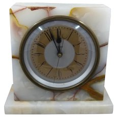 1930s Lifetime Onyx Marble Electric Mantel Clock 8""