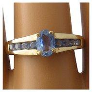 10K Pale Blue Sapphires Ring Samuel Aaron Size 10