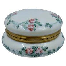 P.M. Mavaleix Limoges Porcelain Powder Box HP Roses