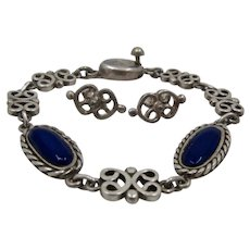 Los Castillo Sterling Lapis Bracelet + Earrings