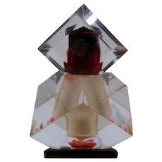 Ca 1960 Geometric Faceted Lucite Perfume Bottle Glass Dauber