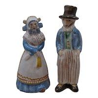 Ca 1950s L. Hjorth Sweden Hand Made Ceramic Man Woman Figures