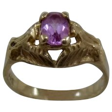 10K Pink Zircon Ring Incised Setting MAS Sz 6