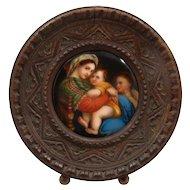 Miniature Painting on Porcelain of Raphael's Madonna Della Sedia late 1800s