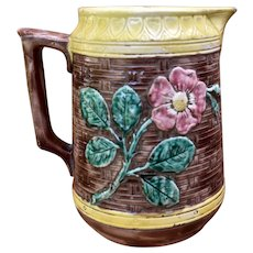 Majolica American Water Pitcher Sunflowers Rose Late 1800s