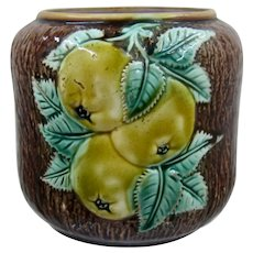 Ca 1900 European Majolica Pears  Apples Jar