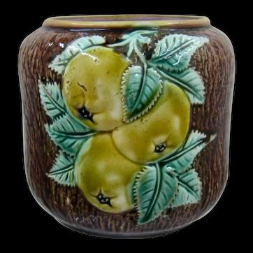Ca 1900 European Majolica Pears  Apples Jar