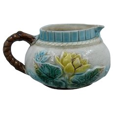 English Majolica Creamer Pond Lily and Rope by Samuel Lear Ca 1880