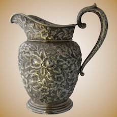 American Sterling Repousse Water Pitcher Southern Rose by Manchester 10""