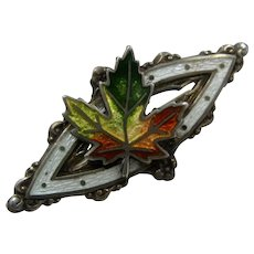 1902 Sterling Guilloche Enamel Maple Leaf Pin