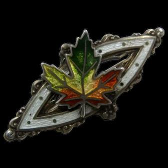 1902 Sterling Guilloche Enamel Maple Leaf Pin