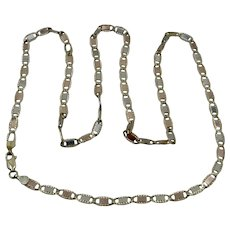 "14K Tri-Color Gold Mariner Link Chain Necklace 4.5mm  24"""