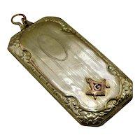 Ca 1930 Masonic Gold Filled Rectangular Locket Fob