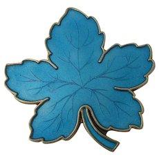MEKA Denmark Sterling Blue Enamel Maple Leaf Pin
