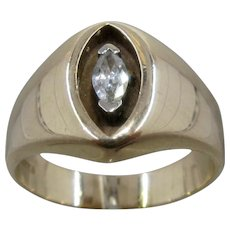 Mens 14K Marquise Diamond Ring Shadow Box Setting NW Mark Size 11.5