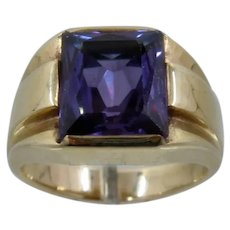 Ca 1940s Mens 14K Synthetic Color Change Sapphire Ring Sz 10 1/2