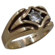 14K European Cut Diamond 5/8 C Mens Ring NW Sz 10