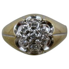 Classic Mens 14K Diamond Cluster Ring Sz 9