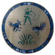 Taxco Cock Fight & Cowboy Sterling Inlay Pin Eagle Stamp