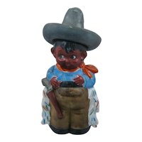 1930s Japan Porcelain Figural Decanter Mexican Cowboy Vaquero
