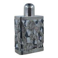 Vintage Mexican Sterling Overlay Perfume Bottle Rectangular Shape