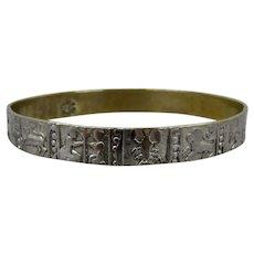 "Vintage Mexican Zodiac Symbols Bangle Bracelet Silver Plated 8 1/4"""