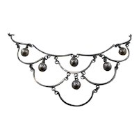 """Vintage Mexico Sterling Bib Necklace w/ Dangling Orbs 14.5"""""""