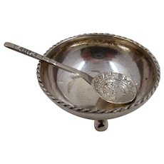 Mexican Sterling Salt Dish & Spoon Aztec Calendar