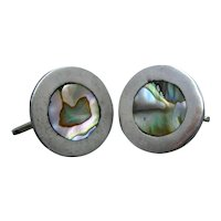 Vintage Mexican Sterling Abalone Shell Inlay Cufflinks Signed