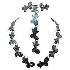 Taxco Sterling Abalone Inlay Parure Necklace Bracelet Earrings Signed L.S.