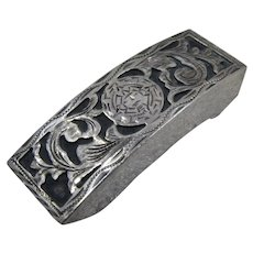 Hand Made Mexican Sterling Skinny Belt Buckle Aztec Design Pre-1979